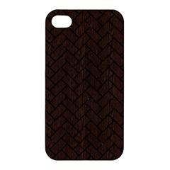 Brick2 Black Marble & Dark Brown Wood Apple Iphone 4/4s Hardshell Case by trendistuff