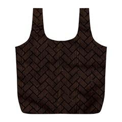 Brick2 Black Marble & Dark Brown Wood Full Print Recycle Bags (l)  by trendistuff
