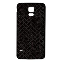 Brick2 Black Marble & Dark Brown Wood (r) Samsung Galaxy S5 Back Case (white) by trendistuff