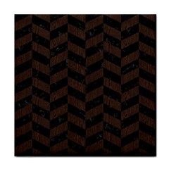 Chevron1 Black Marble & Dark Brown Wood Tile Coasters by trendistuff