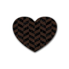 Chevron1 Black Marble & Dark Brown Wood Heart Coaster (4 Pack)  by trendistuff