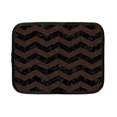Chevron3 Black Marble & Dark Brown Wood Netbook Case (small)  by trendistuff