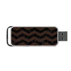 Chevron3 Black Marble & Dark Brown Wood Portable Usb Flash (two Sides) by trendistuff
