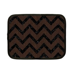 Chevron9 Black Marble & Dark Brown Wood Netbook Case (small)  by trendistuff