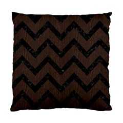 Chevron9 Black Marble & Dark Brown Wood Standard Cushion Case (one Side) by trendistuff