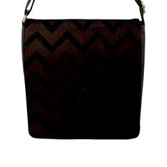 Chevron9 Black Marble & Dark Brown Wood Flap Messenger Bag (l)  by trendistuff