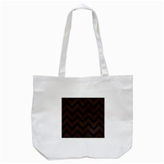 Chevron9 Black Marble & Dark Brown Wood Tote Bag (white) by trendistuff