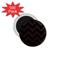 Chevron9 Black Marble & Dark Brown Wood (r) 1 75  Magnets (100 Pack)  by trendistuff