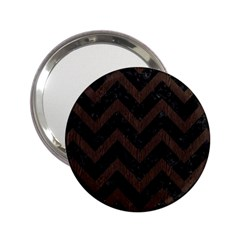 Chevron9 Black Marble & Dark Brown Wood (r) 2 25  Handbag Mirrors by trendistuff