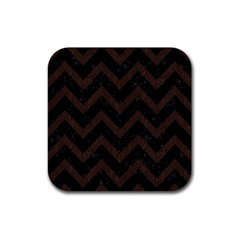 Chevron9 Black Marble & Dark Brown Wood (r) Rubber Square Coaster (4 Pack)  by trendistuff