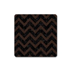 Chevron9 Black Marble & Dark Brown Wood (r) Square Magnet by trendistuff