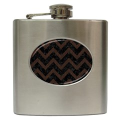 Chevron9 Black Marble & Dark Brown Wood (r) Hip Flask (6 Oz) by trendistuff