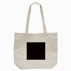 Chevron9 Black Marble & Dark Brown Wood (r) Tote Bag (cream) by trendistuff