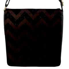 Chevron9 Black Marble & Dark Brown Wood (r) Flap Messenger Bag (s) by trendistuff
