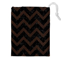 Chevron9 Black Marble & Dark Brown Wood (r) Drawstring Pouches (xxl) by trendistuff