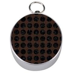 Circles1 Black Marble & Dark Brown Wood Silver Compasses by trendistuff