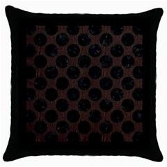 Circles2 Black Marble & Dark Brown Wood Throw Pillow Case (black) by trendistuff