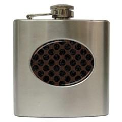 Circles2 Black Marble & Dark Brown Wood Hip Flask (6 Oz) by trendistuff