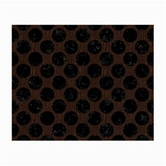 Circles2 Black Marble & Dark Brown Wood Small Glasses Cloth (2 Side) by trendistuff