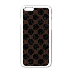 Circles2 Black Marble & Dark Brown Wood Apple Iphone 6/6s White Enamel Case by trendistuff