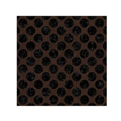 Circles2 Black Marble & Dark Brown Wood Small Satin Scarf (square) by trendistuff