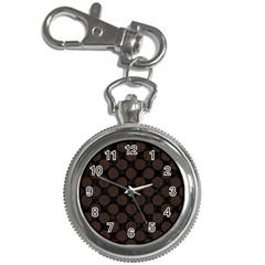 Circles2 Black Marble & Dark Brown Wood (r) Key Chain Watches by trendistuff
