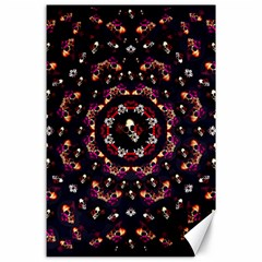Floral Skulls In The Darkest Environment Canvas 24  X 36  by pepitasart