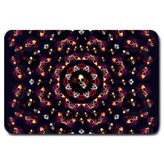 Floral Skulls In The Darkest Environment Large Doormat  by pepitasart