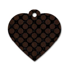 Circles2 Black Marble & Dark Brown Wood (r) Dog Tag Heart (one Side) by trendistuff