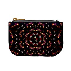 Floral Skulls In The Darkest Environment Mini Coin Purses by pepitasart