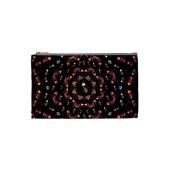 Floral Skulls In The Darkest Environment Cosmetic Bag (small)  by pepitasart