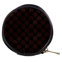Circles2 Black Marble & Dark Brown Wood (r) Mini Makeup Bags by trendistuff