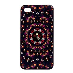 Floral Skulls In The Darkest Environment Apple Iphone 4/4s Seamless Case (black) by pepitasart