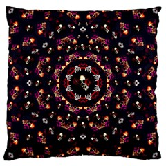 Floral Skulls In The Darkest Environment Large Cushion Case (two Sides) by pepitasart