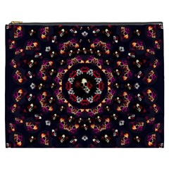 Floral Skulls In The Darkest Environment Cosmetic Bag (xxxl)  by pepitasart