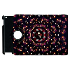 Floral Skulls In The Darkest Environment Apple Ipad 3/4 Flip 360 Case by pepitasart