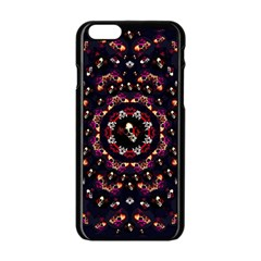 Floral Skulls In The Darkest Environment Apple Iphone 6/6s Black Enamel Case by pepitasart