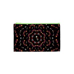 Floral Skulls In The Darkest Environment Cosmetic Bag (xs) by pepitasart