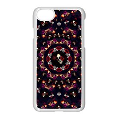 Floral Skulls In The Darkest Environment Apple Iphone 7 Seamless Case (white) by pepitasart