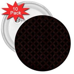 Circles3 Black Marble & Dark Brown Wood (r) 3  Buttons (10 Pack)  by trendistuff