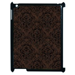 Damask1 Black Marble & Dark Brown Wood Apple Ipad 2 Case (black) by trendistuff