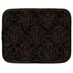 Damask1 Black Marble & Dark Brown Wood (r) Netbook Case (xxl)  by trendistuff