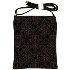 Damask1 Black Marble & Dark Brown Wood (r) Shoulder Sling Bags by trendistuff