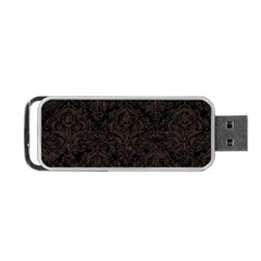 Damask1 Black Marble & Dark Brown Wood (r) Portable Usb Flash (two Sides) by trendistuff