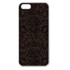Damask2 Black Marble & Dark Brown Wood Apple Seamless Iphone 5 Case (clear) by trendistuff