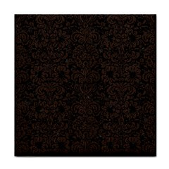 Damask2 Black Marble & Dark Brown Wood (r) Tile Coasters by trendistuff