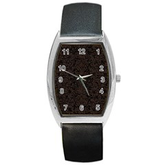 Damask2 Black Marble & Dark Brown Wood (r) Barrel Style Metal Watch by trendistuff