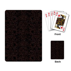Damask2 Black Marble & Dark Brown Wood (r) Playing Card by trendistuff