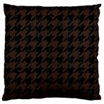 HOUNDSTOOTH1 BLACK MARBLE & DARK BROWN WOOD Large Cushion Case (Two Sides) Back