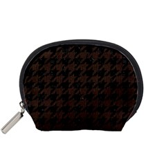 Houndstooth1 Black Marble & Dark Brown Wood Accessory Pouches (small)  by trendistuff